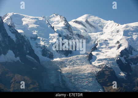 A Paraponter in front of Mont Blanc, Chamonix, France. - Stock Photo