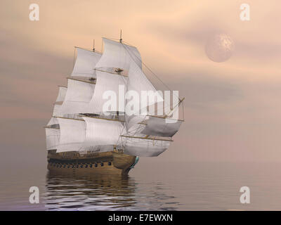 Beautiful old merchant ship sailing on quiet waters under full moon. - Stock Photo