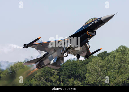 A Royal Netherlands Air Force F-16AM takes off at RAF Fairford, England. - Stock Photo