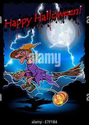 illustration of scary witch on a broomstick in the night sky - Stock Photo