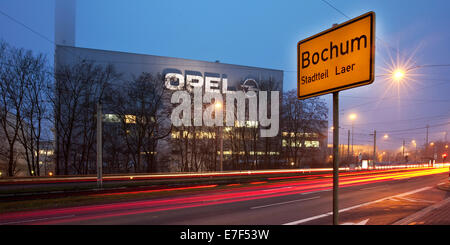 Bochum town sign, Opel plant, Bochum, Ruhr Area, North Rhine-Westphalia, Germany - Stock Photo