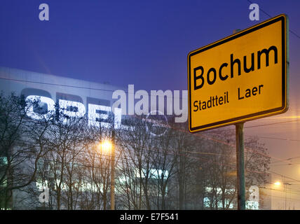 opel factory and place name sign on bochum in evening light germany stock photo 76130277 alamy. Black Bedroom Furniture Sets. Home Design Ideas