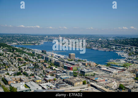 View of Lake Union from Space needle, Seattle - Stock Photo