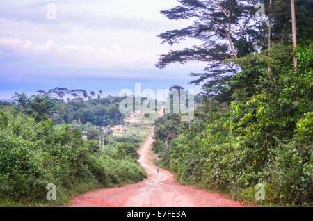 Dirt road of red earth in Nimba County, Liberia, leading to the border with Cote d'Ivoire - Stock Photo