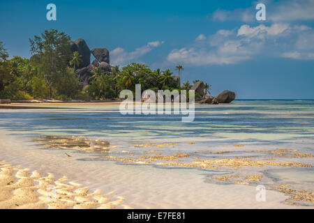 Exquisite Beach In the Seychelles With Unusual Rock Formations - Stock Photo
