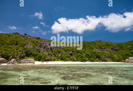 Exquisite Tropical Beach In The Seychelles - Stock Photo