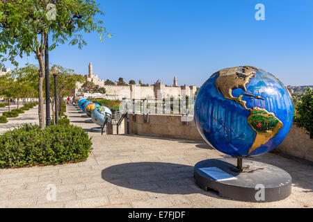 Globes exposition in Old City of Jerusalem, Israel. - Stock Photo