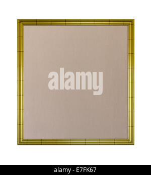 Cloth based pinboard or notice board inside a gold painted ornate picture frame isolated against white background - Stock Photo