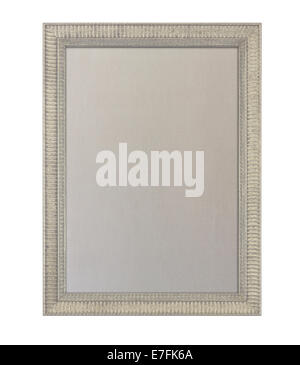 Cloth based pinboard or notice board inside a beige painted ornate picture frame isolated against white background - Stock Photo