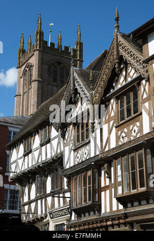 St Laurence Church and tudor buildings, Broad Street, Ludlow, Shropshire, England, United Kingdom, Europe - Stock Photo