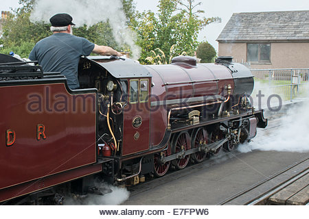Hercules steam engine  on the Ravenglass and Eskdale Railway in the Lake District, Cumbria - Stock Photo