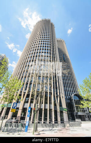 MADRID, SPAIN-4 MAY: EuropeTower at AZCA financial center in Madrid on 4 May, 2013. - Stock Photo