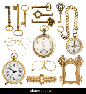 collection of golden antique accessories. vintage keys, clock, compass, glasses, pocket watch, frame isolated on - Stock Photo