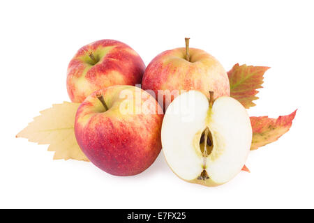 Apples with autumn leaf isolated on white - Stock Photo