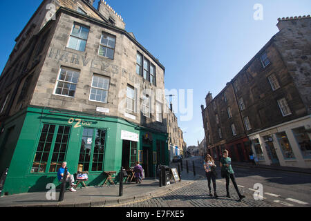 The former premises of 'Harvey's Furniture Store' on Candlemaker Row, the Old Town area in Edinburgh, Scotland, - Stock Photo