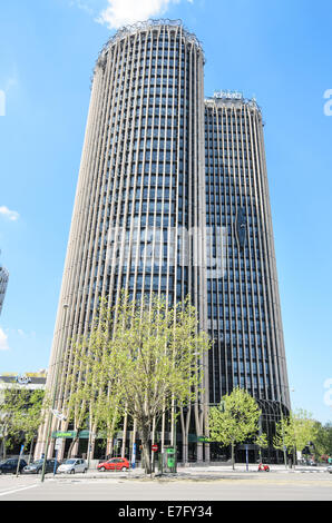 MADRID, SPAIN-4 MAY: EuropeTower at AZCA financial center in Madrid on 4 May, 2013. Europe Tower is the seventh - Stock Photo