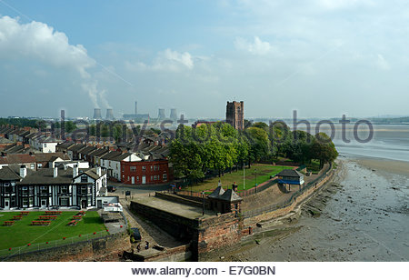 View of West Bank, Widnes, with St.Mary's Church visible and a distant view of Fiddlers Ferry power station. Cheshire, - Stock Photo