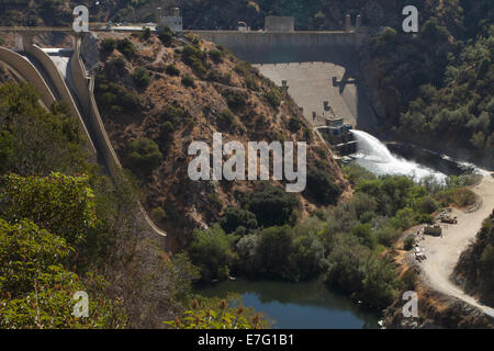 Los Angeles, CA, USA. 16th Sep, 2014. Water from the Morris dam is released into the San Gabriel river in the Angeles - Stock Photo