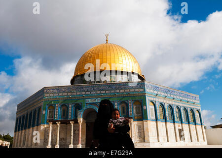 The Dome of the Rock on top of the temple Mount in the old city of Jerusalem. - Stock Photo