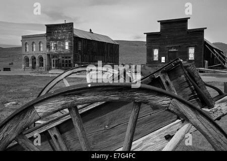 Pony cart and Bodie Post Office, IOOF Hall, and Miner's Union Hall, Bodie Ghost Town, Eastern Sierra, California, - Stock Photo