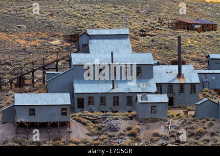 Standard Stamp Mill, Bodie Ghost Town ( elevation 8379 ft / 2554 m ), Bodie Hills, Mono County, Eastern Sierra, - Stock Photo