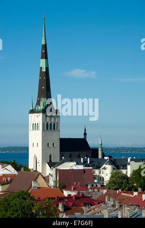 View from Toompea Hill, St Olaf's Church, Tallinn, Estonia, Baltic States - Stock Photo