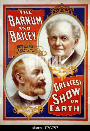 The Barnum & Bailey Greatest Show on Earth. [Portraits of P.T. Barnum [and] J.A. Bailey - Stock Photo