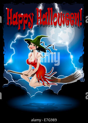 illustration of beautiful witch on a broomstick in the night sky - Stock Photo