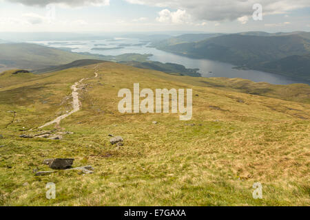 Easy descent on the way down from Ben Lomond. - Stock Photo