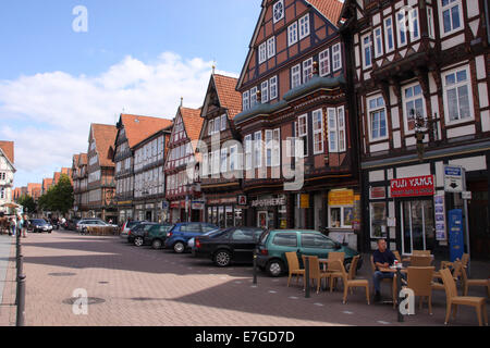 In the old town of Celle there is predominantly timber-framed houses. The gables date from different centuries. - Stock Photo