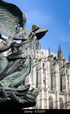 Peace Fountain Statue, and Cathedral of Saint John the Divine. - Stock Photo