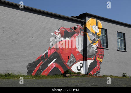wall painting at the bungalow on the TT course  on the isle of man - Stock Photo