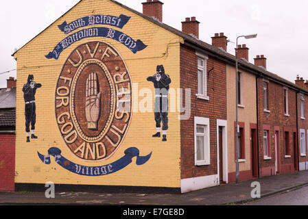 Loyalist Murals in Shankill Road Area in Belfast, 12.8.2014 - Stock Photo