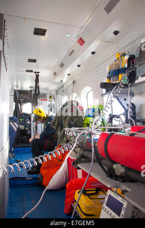 Irish Coast Guard IRCG  Garda Cósta na hÉireann Sikorsky helicopter inside interior of chopper - Stock Photo