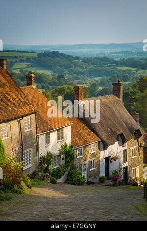 Evening at Gold Hill in Shaftesbury, Dorset, England - Stock Photo