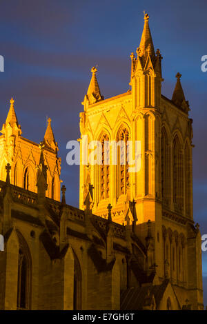 Lighted towers of Cathedral Church of the Holy and Undivided Trinity, Bristol, England - Stock Photo