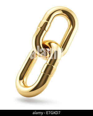 3d render of golden chains ring. Business concept - Stock Photo