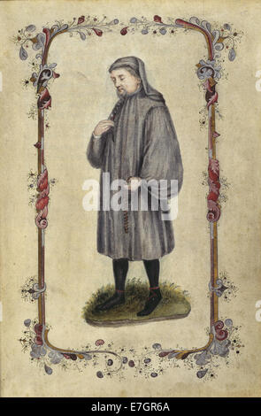 Geoffrey Chaucer - Canterbury Tales (1478), frontispiece - BL - Stock Photo