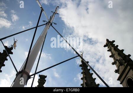 View of flagpole on St. Mary`s Church tower, Warwick, Warwickshire, England, UK - Stock Photo