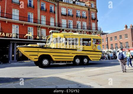 Duck tours amphibious bus in Windsor England - Stock Photo