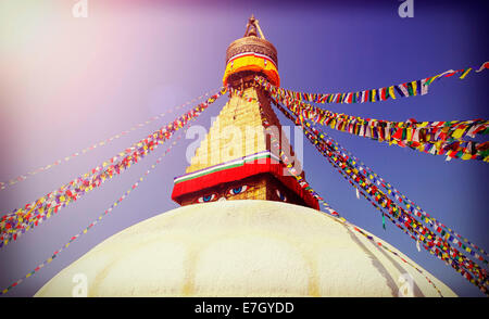 Vintage filtered picture of Boudhanath Stupa, symbol of Kathmandu, Nepal - Stock Photo