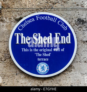 London, UK. 17th Sep, 2014. Champions League Group Stage. Chelsea versus FC Schalke 04. A 'Shed End' Plaque seen - Stock Photo