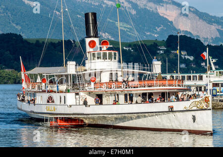 Paddle Wheel Steamer at Lake Lucerne in Switzerland. | Schaufelraddampfer auf dem Vierwaldstaetter See, Luzern, - Stock Photo