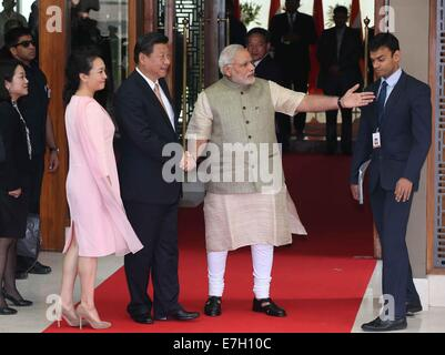 New Dehli, India. 17th Sep, 2014. Chinese President Xi Jinping (2nd L) meets with Indian Prime Minister Narendra - Stock Photo