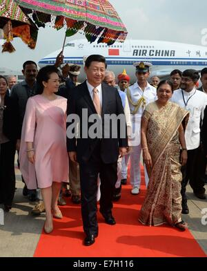 New Dehli, India. 17th Sep, 2014. Chinese President Xi Jinping arrives in Ahmedabad of Gujarat, India, Sept. 17, - Stock Photo