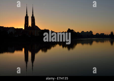 Ostrow Tumski island on river Oder with the Cathedral at sunrise, Wroclaw, Poland - Stock Photo