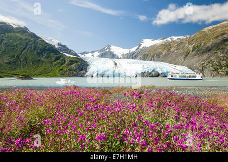 A tour boat explores Portage Lake with Portage Glacier in the Chugach National Forest of Portage Valley in Alaska. - Stock Photo