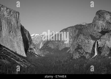 El Capitan, Yosemite Valley, Half Dome, and Bridalveil Fall, seen from Tunnel View, Yosemite National Park, California, - Stock Photo