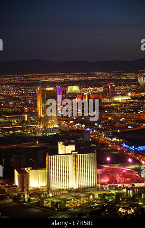 Night view of Circus Circus Hotel and Casino, and Trump International Hotel from observation deck of Stratosphere - Stock Photo