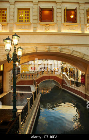 Grand Canal, inside The Venetian Resort Hotel Casino, Las Vegas, Nevada, USA - Stock Photo